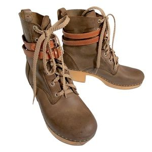 41 swedish HASBEENS LACE toffel LEATHER BOOTS